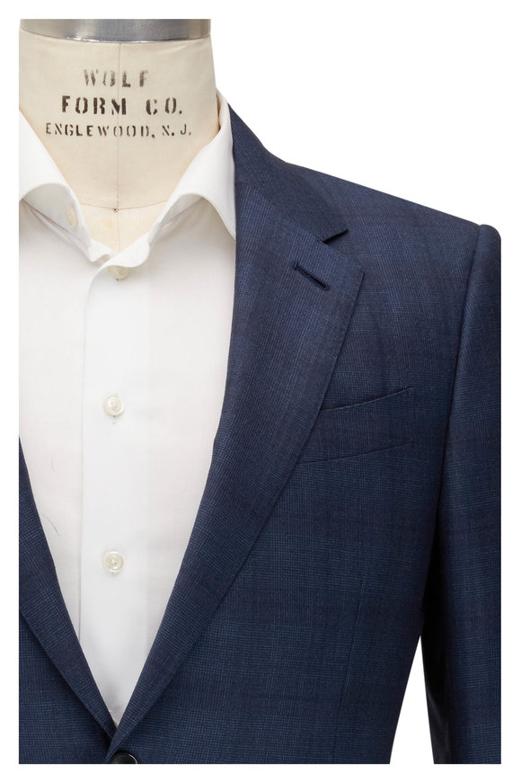 Ermenegildo Zegna Tonal Blue Plaid Trofeo Wool Suit