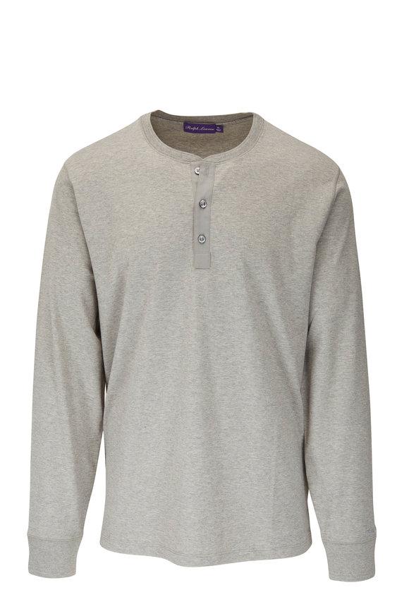 Ralph Lauren Light Gray Cotton Long Sleeve Henley