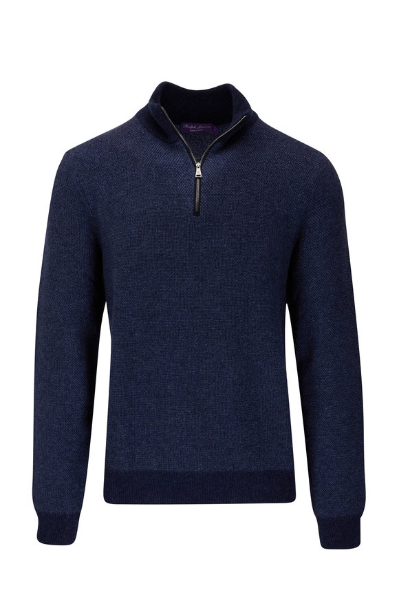 Ralph Lauren Navy Cashmere Quarter-Zip Sweater