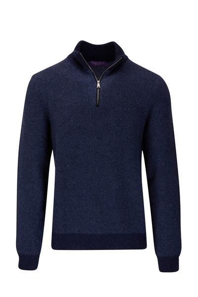 Ralph Lauren - Navy Cashmere Quarter-Zip Sweater