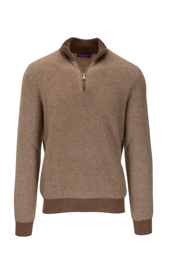 Ralph Lauren Brown Cashmere Quarter-Zip Pullover