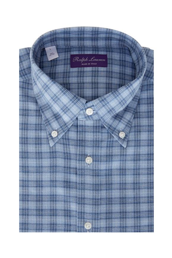 Ralph Lauren Light Blue Small Plaid Sport Shirt