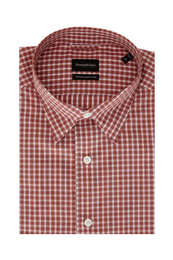 Ermenegildo Zegna Rust Check Tailored Fit Sport Shirt