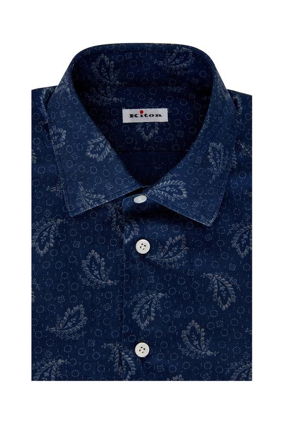 Kiton Dark Chambray Paisley Dress Shirt