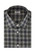 Kiton - Gray, Blue & Green Plaid Dress Shirt