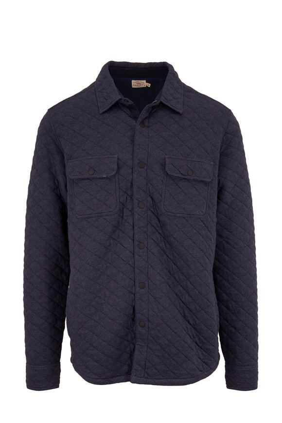 Faherty Brand Epic Navy Blue Quilted Fleece CPO