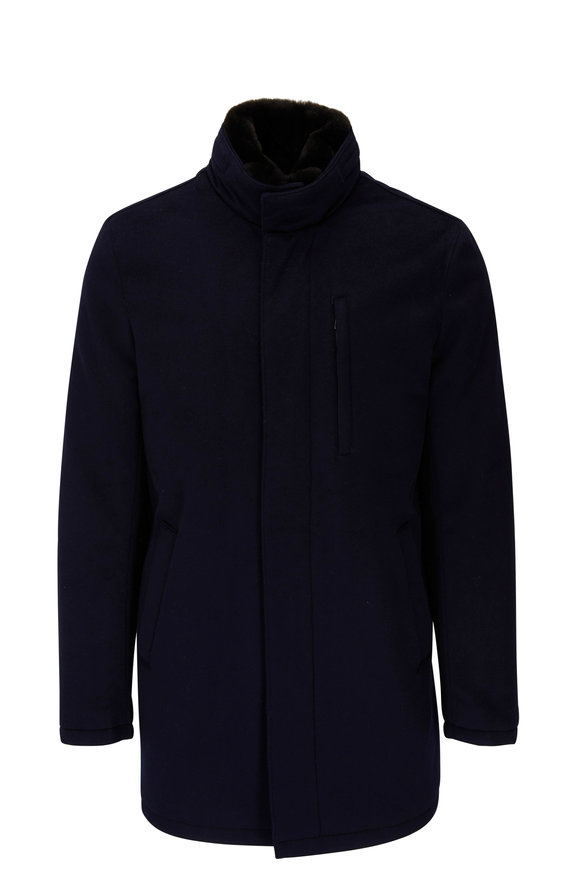 Manto Navy Cashmere Green Storm System Coat