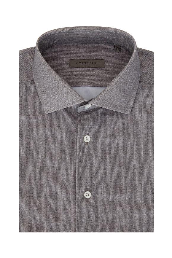 Corneliani Gray Herringbone Performance Shirt