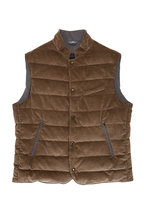 Fradi - Barney Tan Corduroy Snap Front Vest