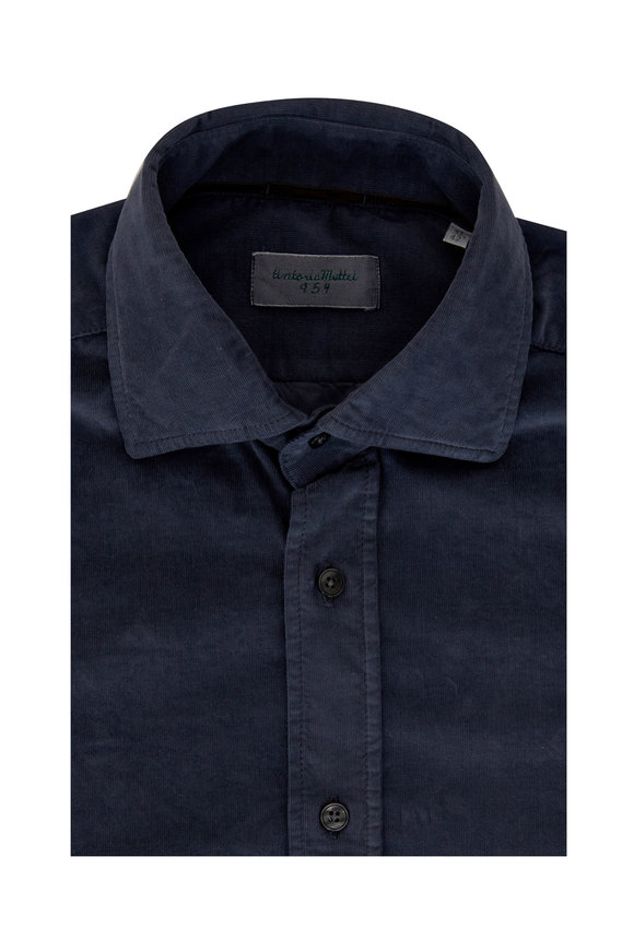 Tintoria Gray Stretch Herringbone Sport Shirt