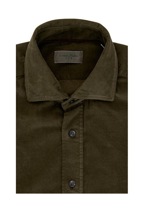 Tintoria Olive Stretch Herringbone Sport Shirt