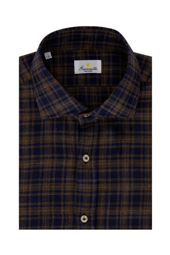Giannetto Navy Blue & Tan Plaid Sport Shirt