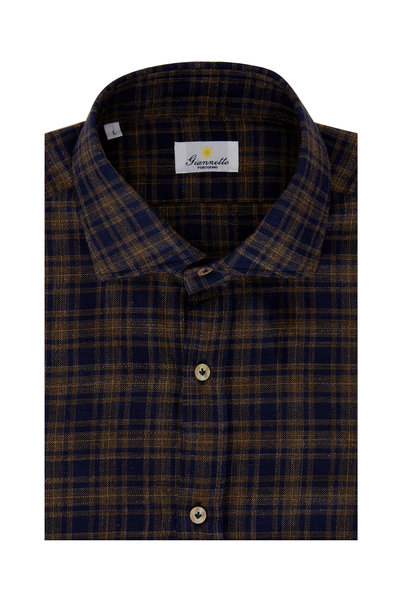 Giannetto - Navy Blue & Tan Plaid Sport Shirt