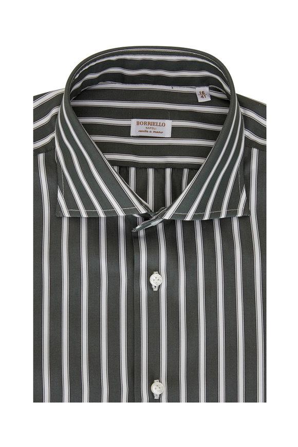 Borriello Green & White Striped Dress Shirt