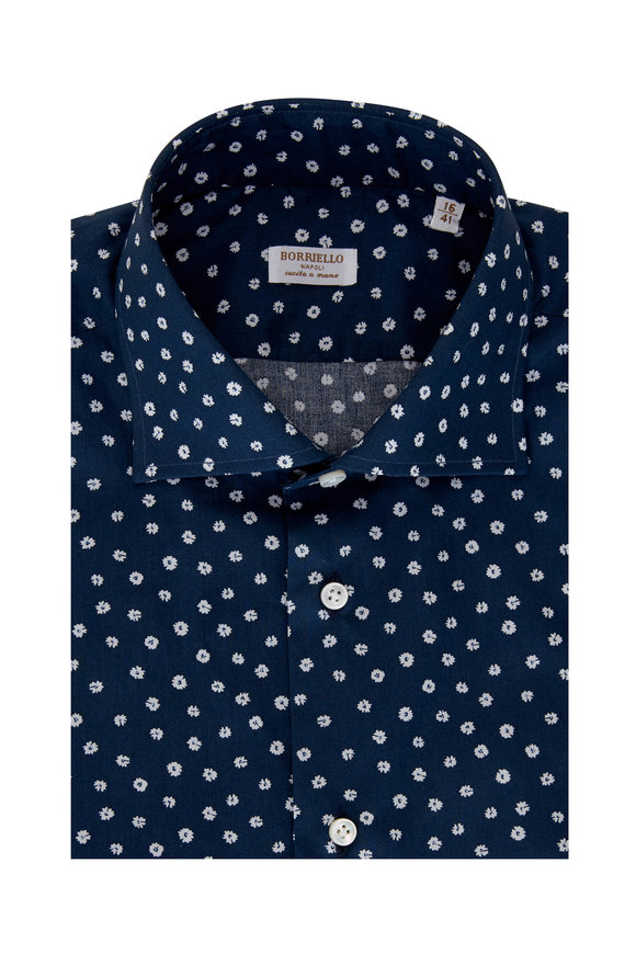 Borriello Navy Blue Floral Printed Dress Shirt
