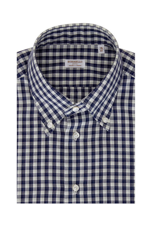 Borriello Navy Blue Check Dress Shirt