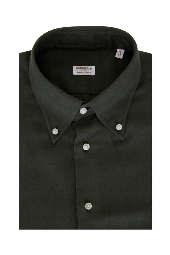 Borriello Army Green Flannel Dress Shirt