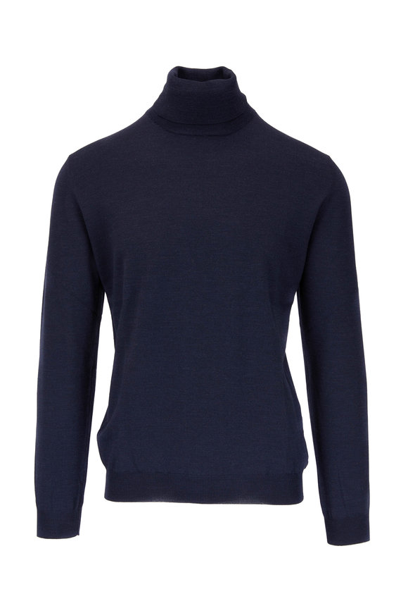 Zanone Navy Melange Flexwool Turtleneck