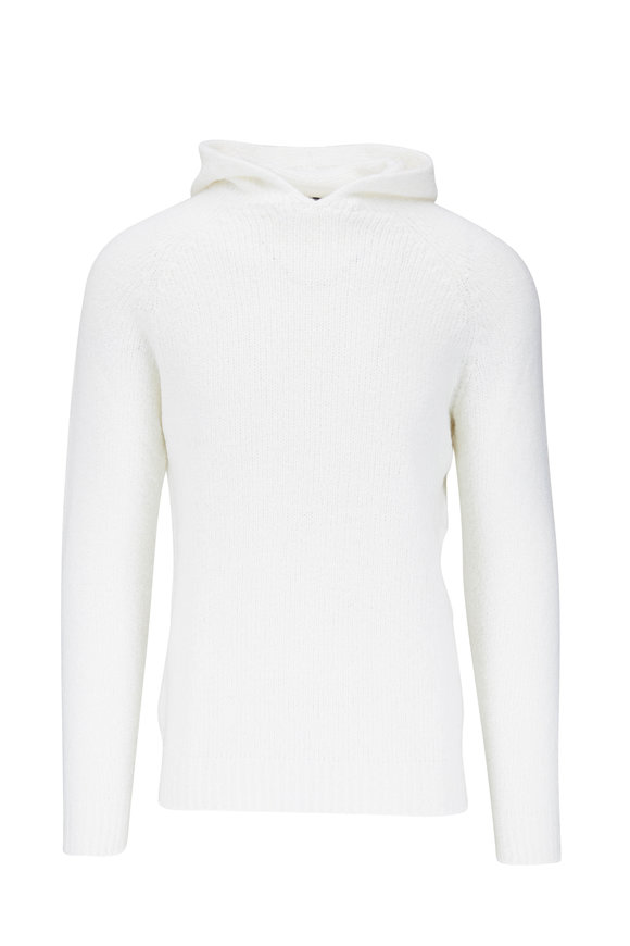 04651/ White Chunky Knit Hoodie