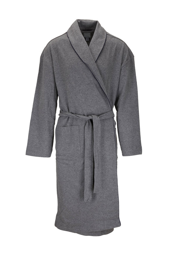 Majestic Gray Knit Belted Robe