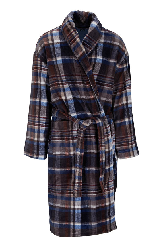 Majestic Indigo Plaid Plush Fleece Robe
