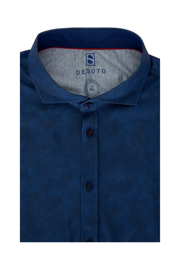 Desoto Navy Blue Mini Dot Performance Sport Shirt