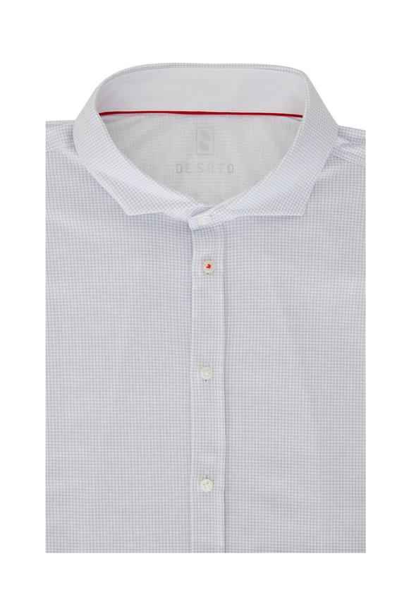 Desoto Light Gray Houndstooth Sport Shirt