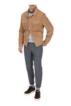 Brunello Cucinelli - Tan Suede Button Down Western Jacket