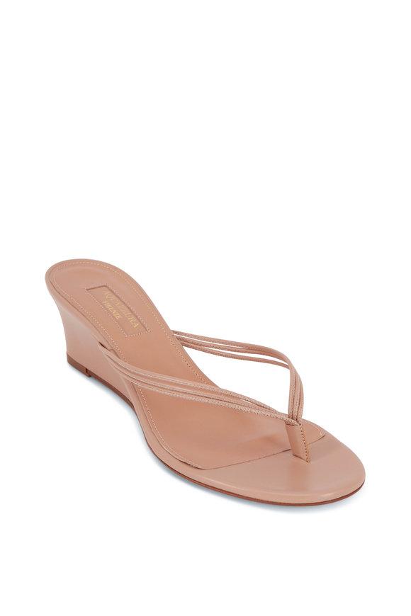 Aquazzura Pedi New Nude Leather Thong Wedge Sandal, 45mm