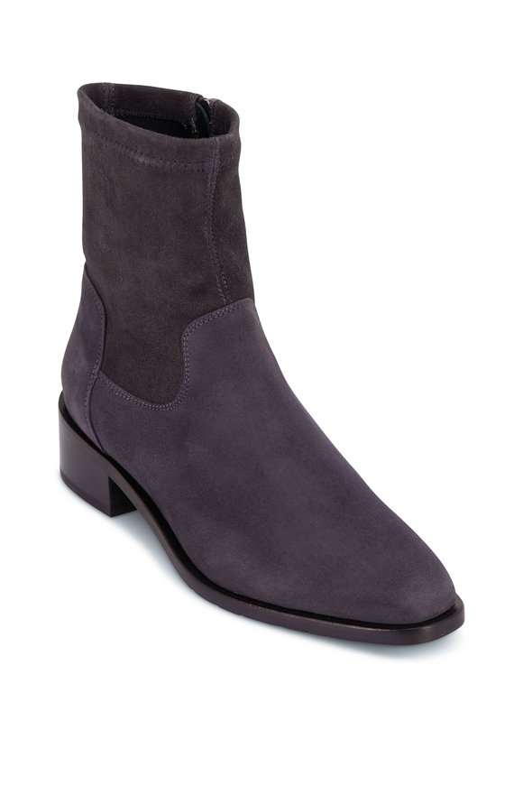 Aquatalia Fallan Anthracite Stretch Suede Bootie, 40mm