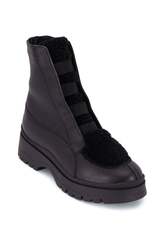 Aquatalia Shayla Black Leather & Shearling Side Zip Boot