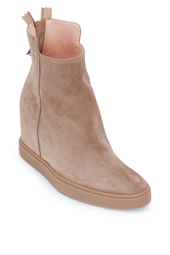 AGL Fergus Taupe Suede Wedge Bootie, 70mm
