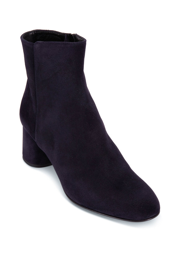 AGL Fergus Navy Blue Suede Chunky Heel Bootie,50mm