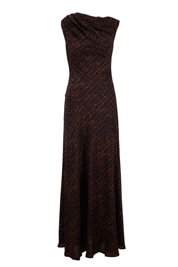Kiton Espresso Silk Croc Print Gown