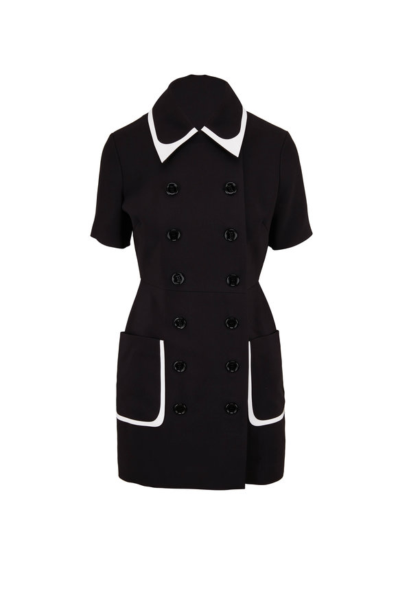 Fendi Black Leather Trim Short Sleeve Dress