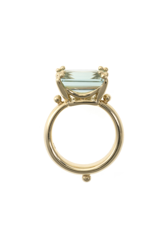 Yellow Gold Green Beryl Cocktail Ring