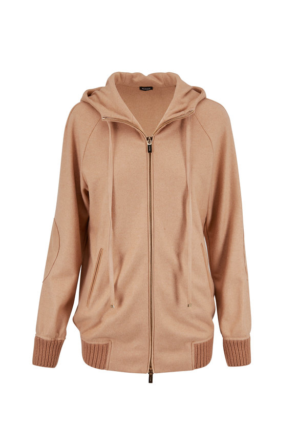 Kiton Camel Cashmere Front Zip Bomber