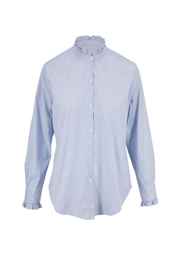 Nili Lotan Lydia Blue & Black Stripe Shirt