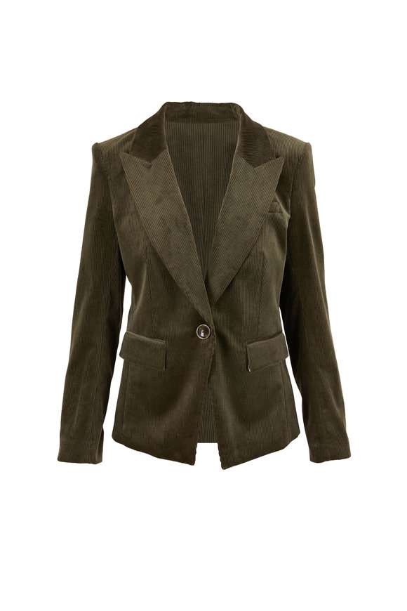 Veronica Beard Lia Sage Corduroy Single Button Dickey Jacket