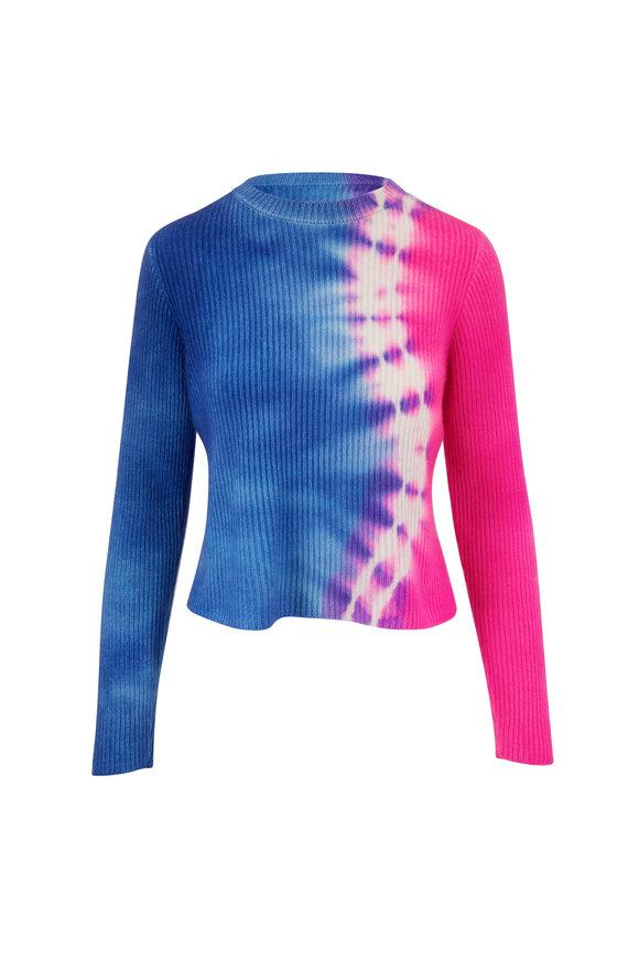 The Elder Statesman Blue & Pink Snake Tie Dye Cashmere Sweater