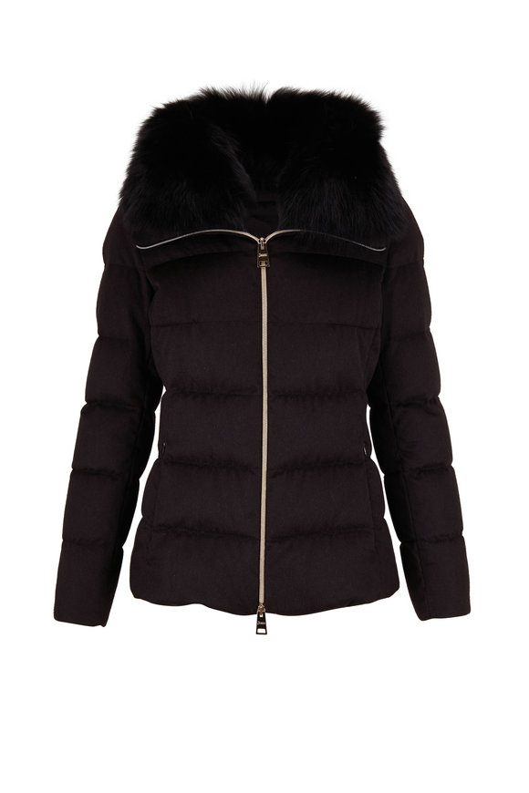 Herno Black Silk & Cashmere Fox Trim Puffer Coat