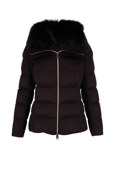 Herno - Black Silk & Cashmere Fox Trim Puffer Coat