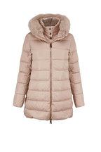 Herno - Champagne Nylon Sateen Fur Trim Puffer Jacket