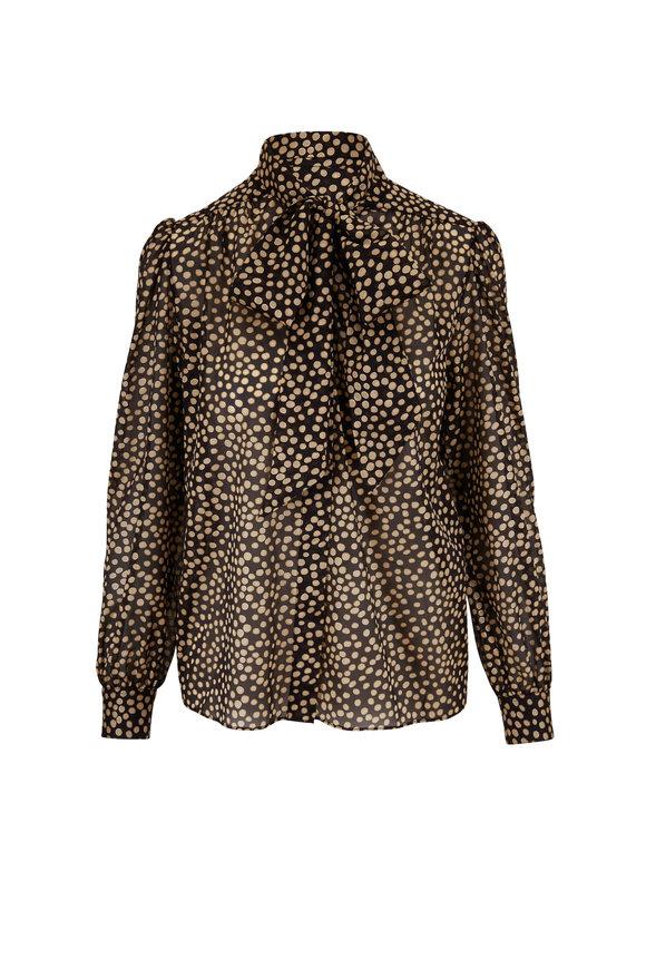 Saint Laurent Black & Gold Silk Dalmatian Print Blouse