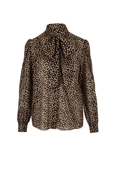 Saint Laurent - Black & Gold Silk Dalmatian Print Blouse