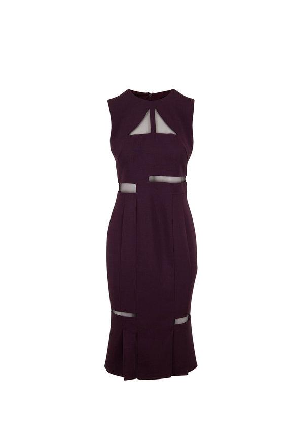 Akris Plum Double-Faced Wool Sleeveless Dress