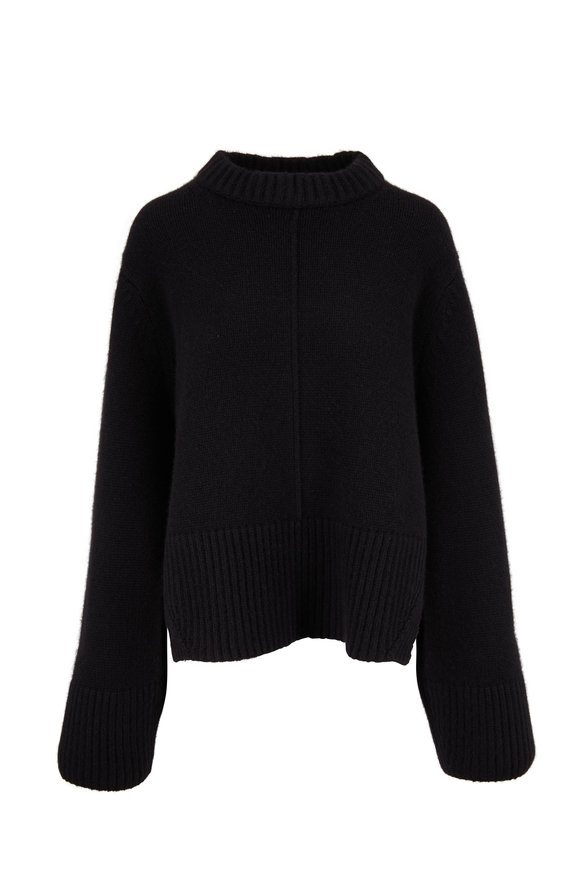 Khaite Virginia Black Cashmere Split Back Pullover