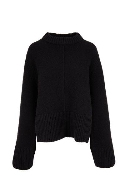 Khaite - Virginia Black Cashmere Split Back Pullover