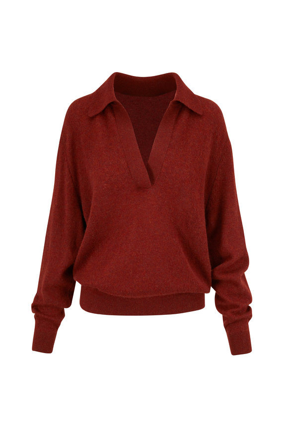 Khaite Jo Mahogany Stretch Cashmere Sweater
