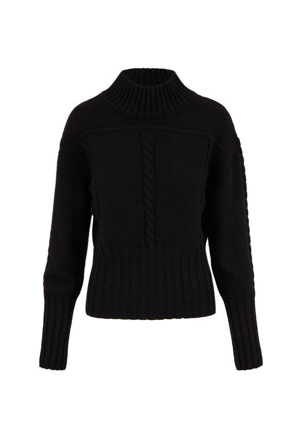 Khaite Maude Black Cashmere Cable Knit Detail Pullover